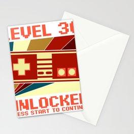 Retro Level Unlocked 36th Birthday Gift Idea Stationery Cards