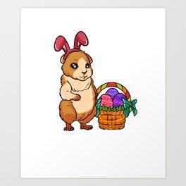 Cute Easter Guiena Pig on Egg Hunt Gift For Animal Lovers Art Print