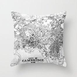 Vintage Map of Cambridge Massachusetts (1877) BW Throw Pillow