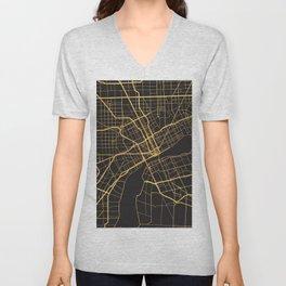 DETROIT MICHIGAN GOLD ON BLACK CITY MAP Unisex V-Neck