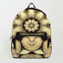 Beige Black Heart Mandala Kaleidoscope Pattern Backpack
