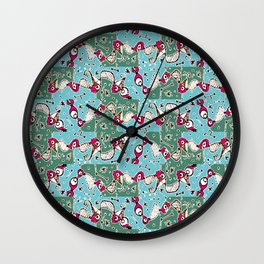 Colorful Hand Drawn Abstract Pattern Wall Clock