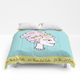 Let Them Eat Cake (blue with yellow border) by Blissikins  Comforters
