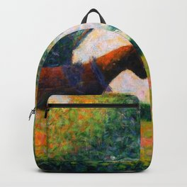 The Harnessed Horse Georges Seurat (1884) Oil Impressionist Painting Backpack