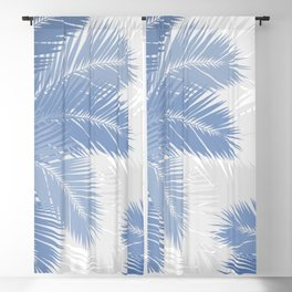 BLUE TROPICAL PALM TREES Blackout Curtain