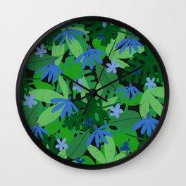 Midnight Jungle Blooms Wall Clock