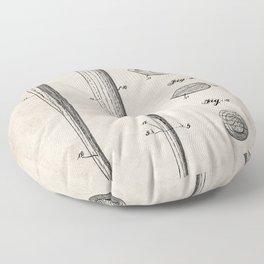 Baseball Bat Patent - Baseball Art - Antique Floor Pillow
