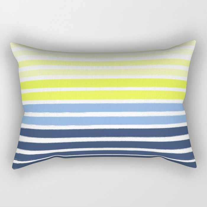 Stripes - Navy and Yellow -- Bright Summer Stripe Design for Cell Phone Case Rectangular Pillow