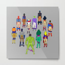 Superhero Butts - Power Couple on Grey Metal Print