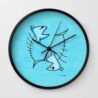 pisces Wall Clocks featuring Pisces by Giuseppe Lentini