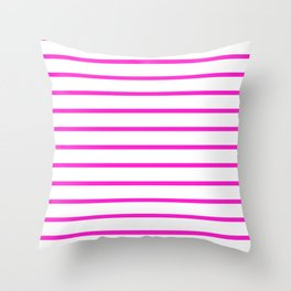 Horizontal Lines (Hot Magenta/White) Throw Pillow