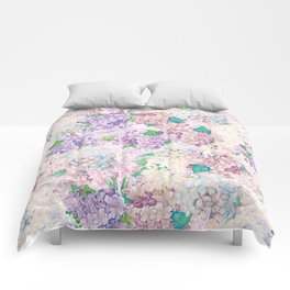 Pastel Purple and blue Lilac & Hydrangea - Flower Design Comforters