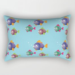 Colorful Fishes with Bubbles Rectangular Pillow