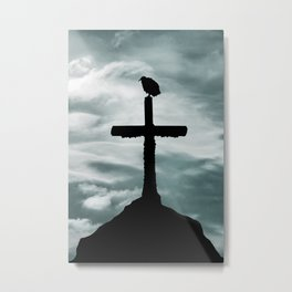 Bird at Top of Cross Church Graphic Silhouette Metal Print