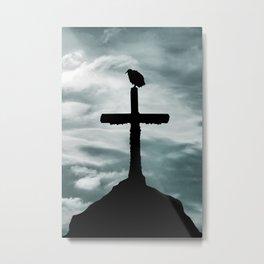Bird at Top of Cross Church Graphic Silhouette Metal Print
