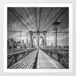 NEW YORK CITY Brooklyn Bridge   Monochrome Art Print