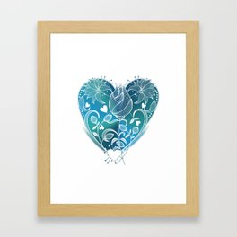 White Inked Floral Heart - Blues Framed Art Print