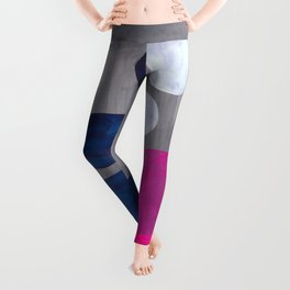 MidCentury Modern Abstract Minimalist Fun Colorful Shapes Navy Blue Magenta Grey Bubbles Retro Style Leggings