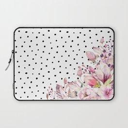 Boho Blush Flowers and Polka Dots Laptop Sleeve