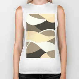 Beige Brown and Taupe Abstract Biker Tank