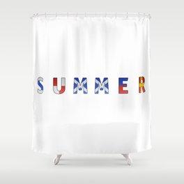 Summer - Navy Code Shower Curtain