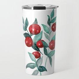 Festive watercolor red berries Travel Mug