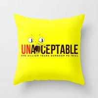 lemongrab Throw Pillows featuring UNACCEPTABLE by robin