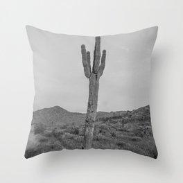 Saguaro B&W // Desert Landscape Photography Arizona Cactus Black and White Vintage Southwestern Vibe Throw Pillow