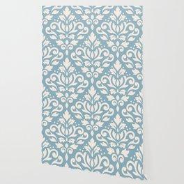 Scroll Damask Large Pattern Cream on Blue Wallpaper