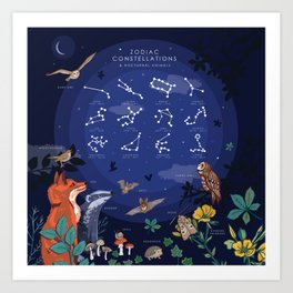 Zodiac Constellations and Nocturnal Animals Art Print