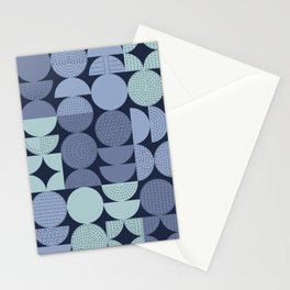 MidCentury Modern Moons with Stitching in Blues Stationery Cards