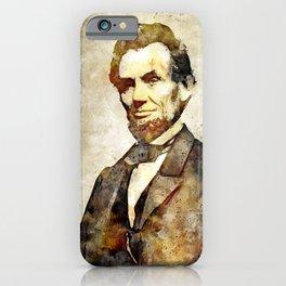 Abraham Lincoln Digital Art Portrait iPhone Case