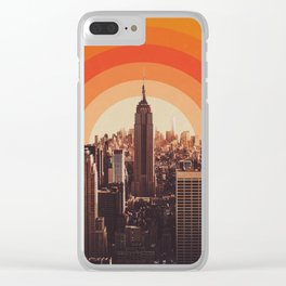 New York's Famous Sunset - Retro City Clear iPhone Case