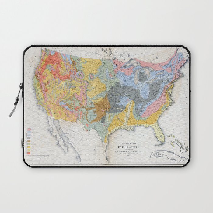 1874 Geological Map of the United States Laptop Sleeve by ...
