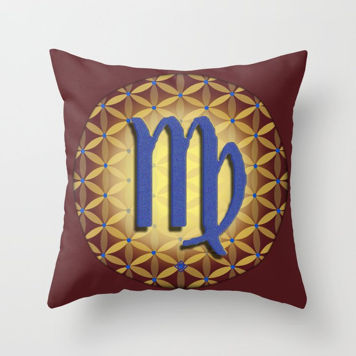Flower of Life VIRGO Astrology Design Throw Pillow