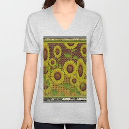 GRUBBY WORN BROWN SUNFLOWERS ART Unisex V-Neck