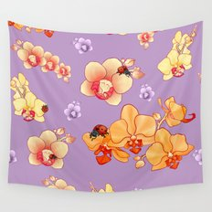 Orchids & Ladybirds Wall Tapestry