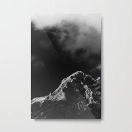Black and white sun illuminated mountain Metal Print