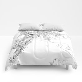 Mumbai White Map Comforters