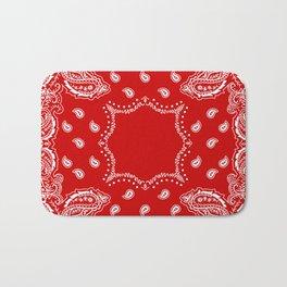Bandana in Red & White Bath Mat