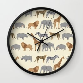 Safari animal minimal modern pattern basic home dorm decor nursery safari patterns Wall Clock