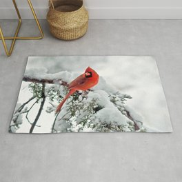 Cardinal on Snowy Branch #2 Rug