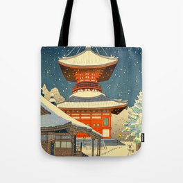 Asano Takeji Views of Wakayama Koyasan Nemoto Big Pagoda Japanese Woodblock print Tote Bag