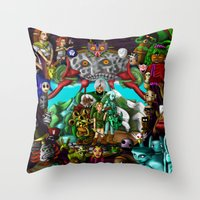 majoras mask Throw Pillows featuring Majoras mask by Rowena White