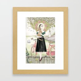 Girl and cat with pink bicycle Framed Art Print