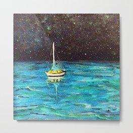 Sailboat Under The Stars Metal Print