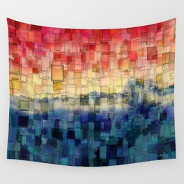 Blue Tide Mosaic Wall Tapestry