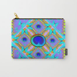 Pastel Turquoise Butterflies & Lilac Pattern Carry-All Pouch