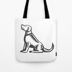 Welsh Terrier Sitting Woodcut  Tote Bag