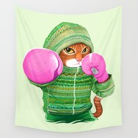 hook Wall Tapestries featuring BOXING CAT 4 by Tummeow